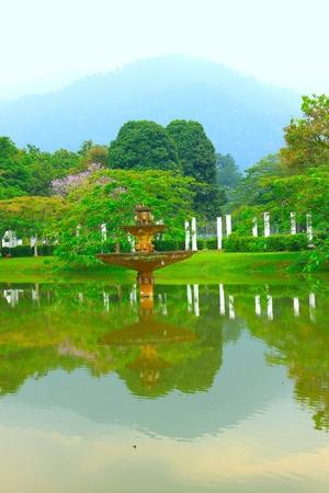 Panoramic view of public lake garden at Taiping, Perak, Malaysia Stock Photo - 11238755