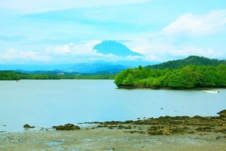 Mount Kinabalu view from Salut River, Tuaran, Sabah, Malaysia photo