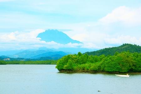 tuaran: Mount Kinabalu view from Salut River, Tuaran, Sabah, Malaysia Stock Photo