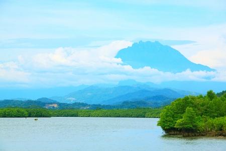 Mount Kinabalu view from Salut River, Tuaran, Sabah, Malaysia Stock Photo