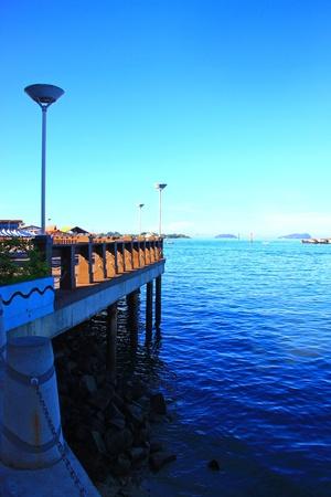 likas: Beautiful landscape during morning time at Likas Beach, Kota Kinabalu, Sabah, Malaysia