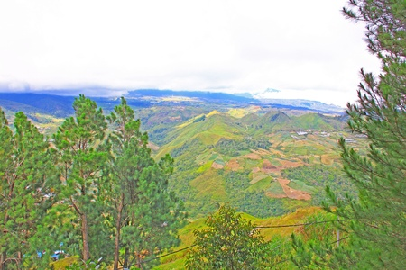 Panoramic view of beautiful landscape from the top at Kundasang, Sabah, Malaysia photo