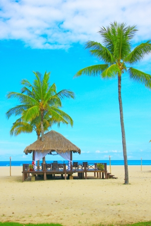 Massage hut facing sea view at Dalit Beach, Tuaran Sabah, Malaysia