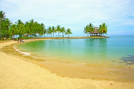 Massage hut with beautiful view at Tg  Arhu Beach, Kota Kinabalu, Sabah, Malaysia Stock Photo