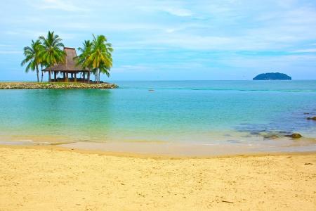 Massage hut with beautiful view at Tg  Arhu Beach, Kota Kinabalu, Sabah, Malaysia photo