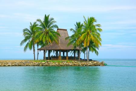 Massage hut with beautiful view at Tg  Arhu Beach, Kota Kinabalu, Sabah, Malaysia Stock Photo - 13431061