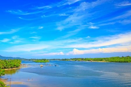 Panoramic view of Salut River at Tuaran Sabah, Malaysia