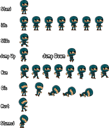 blue ninja characters that you can make your game character.