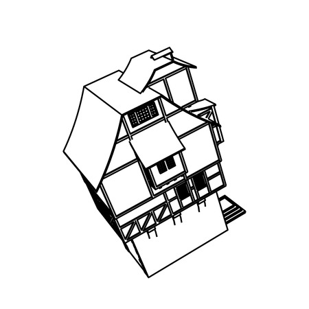 Line Art design of home space Illusztráció