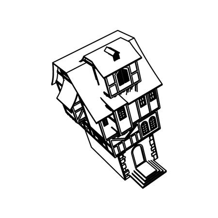 Line Art design of home space Illustration