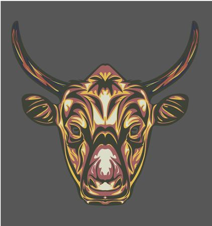 illustration of cow head with pop art style and retro style