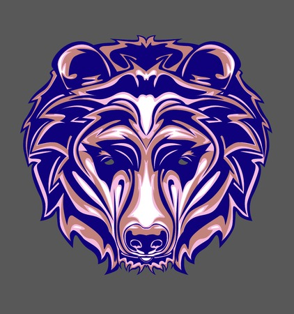 illustration of Grizzly head with pop art style and retro style