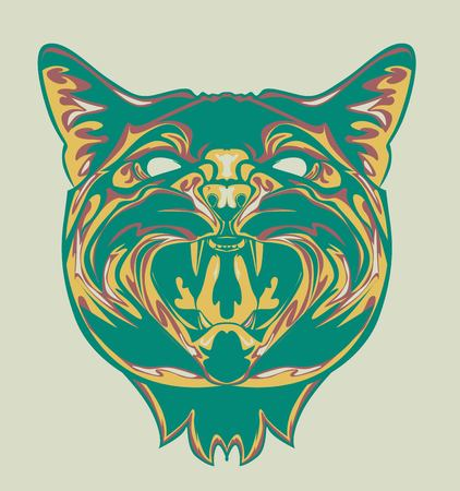 illustration of Cat head with pop art style and retro style
