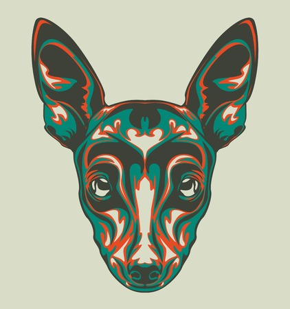 illustration of dog head with pop art style and retro style 矢量图像