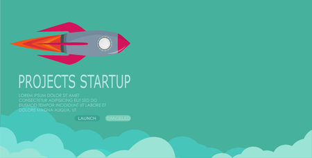 rocket clouds business startup banner vector illustration background EPS10. Illustration