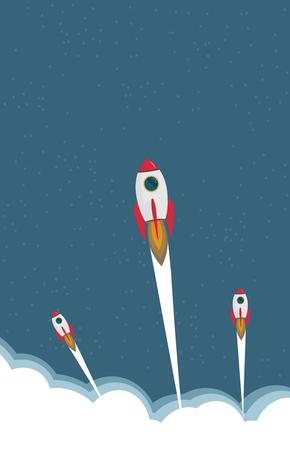 Rocket clouds business startup banner vector illustration background.