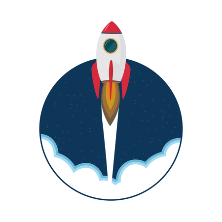 Cartoon rocket space ship take off, isolated vector illustration. Simple retro spaceship icon. 免版税图像 - 98576071