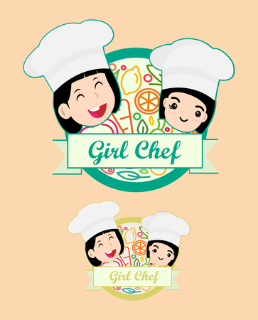 Collection of chef portraits in different situations. Child in a cook's cap and with a towel, holds a ladle. Kid makes gesture okay, holding dish with food design template for baby food. Çizim