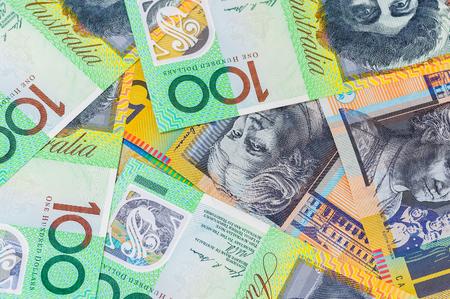 closeup shot of australian dollar on white