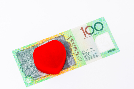 closeup shot of australian dollar on white