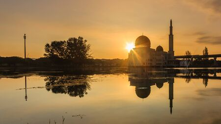 glorious sunrise at as-salam mosque puchong, malaysia