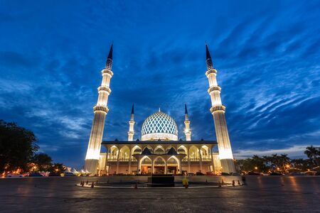 beautiful view of Sultan Salahuddin Abdul Aziz Shah mosque during sunrise