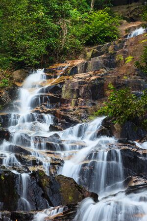 waterfalls found in tropical rainforest in Malaysia