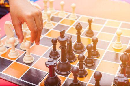 closeup of a chess Board and chess pieces Foto de archivo