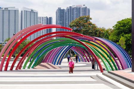 selangor, malaysia - september circa, 2021 : closeup view of people at the kepong metropolitan park, selangor, malaysia Stock Photo