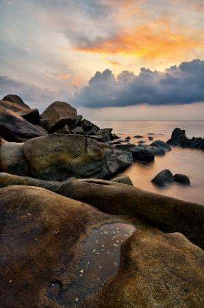 terengganu: dramatic sunrise at Pantai Penunjuk, Terengganu