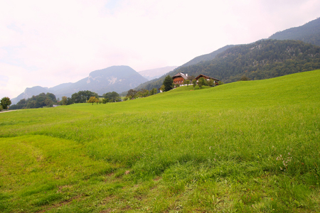wolfgang: Travel to Sankt-Wolfgang, Austria. The green meadow with the houses in the mountains.