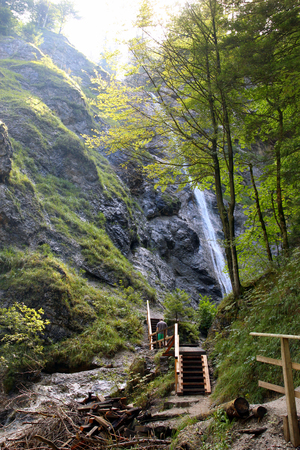 quite: Travel to Sankt-Wolfgang, Austria. The waterfall in the mountains green forest. Stock Photo