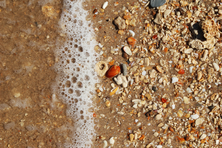 beachcombing: Travel to island Koh Lanta, Thailand. The seashore with stones and clear water.