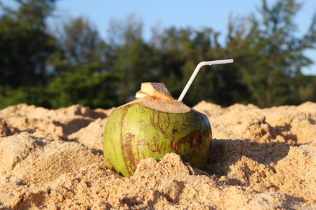 Travel to island Phuket, Thailand. A coconut with straw on the sandy beach in the sunny weather. Stock Photo
