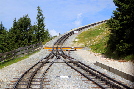 quite: Travel to Sankt-Wolfgang, Austria. The railway on the mountains.