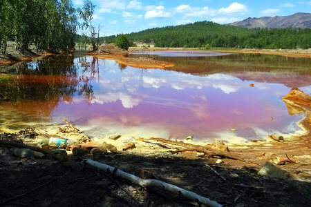 plumbum: The river Sak-Yelga near to Karabash city, Chelyabinsk region, Russia. One of the most polluted place in the world. Stock Photo