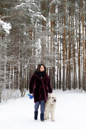 Beautiful young woman is walking with her South Russian Shepherd Dog on a background of winter forest.