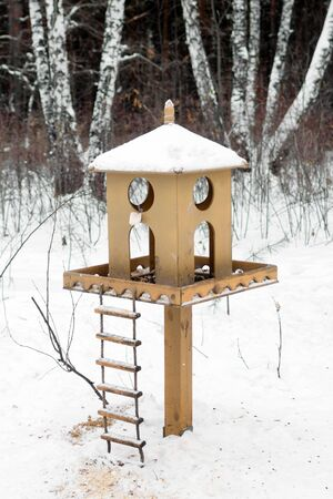 Wooden birdhouse with food in winter snowy forest.