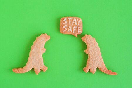 Two homemade cookies in shapes of dinosaurs with inscription 'Stay safe' on green background, top view. Sweet shortbread with white glaze. Social distancing concept.