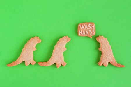 Homemade cookies in shapes of dinosaurs with inscription 'Wash hands' on green background, top view. Sweet shortbread with white glaze. Social distancing concept.