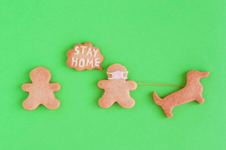 Homemade shortbread cookies with white glaze on green background, top view. Meeting two people, one of them in face mask and with callout with inscription 'Stay home' is walking with dog. Social distancing concept.