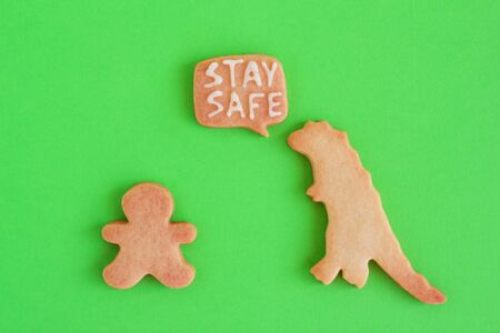 Homemade cookies in shapes of dinosaur and man with inscription 'Stay safe' on green background, top view. Sweet shortbread with white glaze. Social distancing concept.