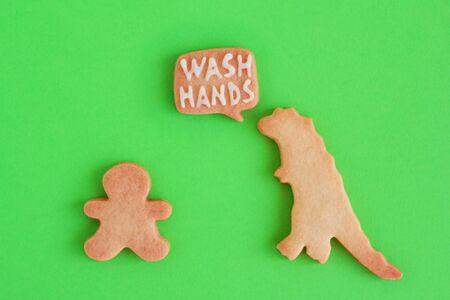Homemade cookies in shapes of dinosaur and man with inscription 'Wash hands' on green background, top view. Sweet shortbread with white glaze. Social distancing concept. 写真素材