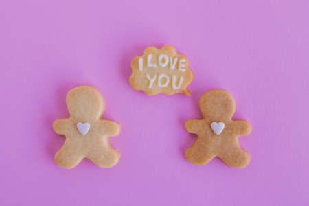 Homemade shortbread cookies with white glaze on pink background, top view. Two people with callout cloud with text 'I love you' 写真素材
