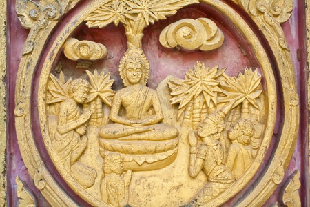 woodcraft: wood carving decorated at windows of the temple, Kanchanaburi,Thailand