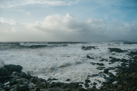 Coast with bad weather and waves from Baiona, Galicia Spain Banque d'images
