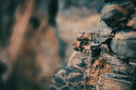 Close-up of textures and abstract shapes of stones in nature