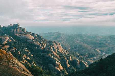 landscape of catalonia mountains on a day with clouds Stok Fotoğraf