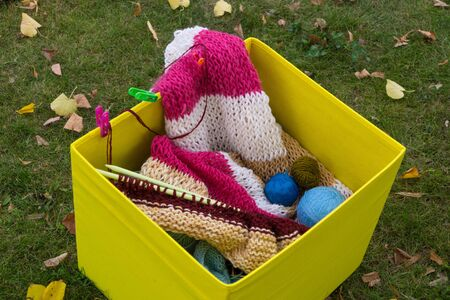 Knitting needles, knitting threads and knitted clothes in a yellow box standing on the grass, strewn with fallen leaves