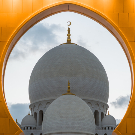 minarets: Sheikh Zayed Grand Mosque, Abu Dhabi, UAE - October 23, 2014. The 3rd Largest mosque in the world with four Minarets.